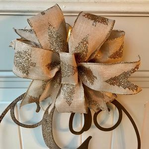 Other - FREE SHIP Gold Holiday Bow Topper Wreath Christmas